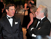 Dennis Quaid, left, shares some thoughts with Wolf Blitzer as they arrive at the Washington Hilton Hotel for the 2010 White House Correspondents Association Annual Dinner in Washington, D.C. on Saturday, May 1, 2010..Credit: Ron Sachs / CNP.(RESTRICTION: NO New York or New Jersey Newspapers or newspapers within a 75 mile radius of New York City)