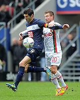 FUSSBALL   1. BUNDESLIGA  SAISON 2011/2012   23. Spieltag FC Augsburg - Hertha BSC Berlin          25.02.2012 Andre Mijatovic (li, Hertha BSC Berlin) gegen Daniel Baier (FC Augsburg)