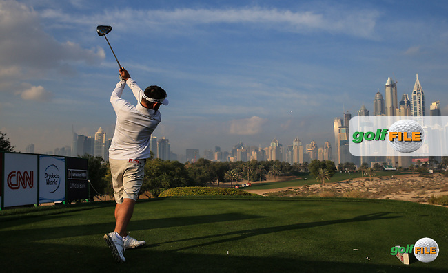 Louis Oosthuizen (RSA) from the 8th tee during the Pro-Am at the 2016 Omega Dubai Desert Classic, played on the Emirates Golf Club, Dubai, United Arab Emirates.  03/02/2016. Picture: Golffile | David Lloyd<br /> <br /> All photos usage must carry mandatory copyright credit (&copy; Golffile | David Lloyd)