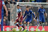 Pablo Fornals of West Ham United and Jorginho Of Chelsea FC during Chelsea vs West Ham United, Premier League Football at Stamford Bridge on 30th November 2019