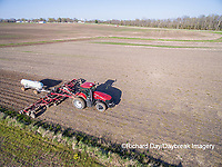 63801-10114 Farmer applying anhydrous ammonia (nitrogen) to corn field-aerial Marion Co. IL
