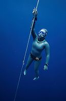 "Freediver Elisabeth Kristoffersen (Norway). Freediving competition ""Bizzy Blue Hole"" in Dahab,Sinai in Egypt."