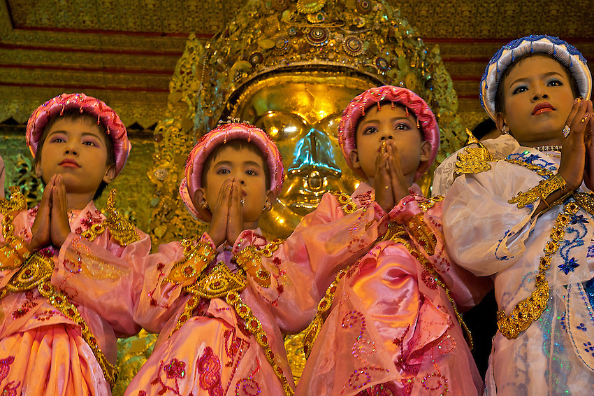 Mahamuni Buddha Image,during the festival of Light Mandalay, Myanmar