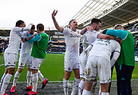 Leeds United's Tyler Roberts celebrates scoring his side's fourth goal with teammates<br /> <br /> Photographer Alex Dodd/CameraSport<br /> <br /> The EFL Sky Bet Championship - Hull City v Leeds United - Saturday 29th February 2020 - KCOM Stadium - Hull<br /> <br /> World Copyright © 2020 CameraSport. All rights reserved. 43 Linden Ave. Countesthorpe. Leicester. England. LE8 5PG - Tel: +44 (0) 116 277 4147 - admin@camerasport.com - www.camerasport.com