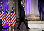 US President Barack Obama leaves after speaking at the 2016 White House Tribal Nations Conference at the Andrew W. Mellon Auditorium, September 26, 2016, Washington, DC.  <br /> The conference provides tribal leaders with opportunity to interact directly with federal government officials and members of the White House Council on Native American Affairs.<br /> Credit: Aude Guerrucci / Pool via CNP