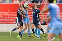 Bridgeview, IL - Sunday May 29, 2016: Sky Blue FC forward Tasha Kai (32) and Chicago Red Stars defender Katie Naughton (5) go for a header. The Chicago Red Stars and Sky Blue FC played to a 1-1 tie during a regular season National Women's Soccer League (NWSL) match at Toyota Park.