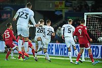 George Byers of Swansea City scores his side's first goal during the Sky Bet Championship match between Swansea City and Fulham at the Liberty Stadium in Swansea, Wales, UK. Friday 29 November 2019
