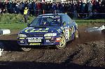 Pix: Shaun Flannery/shaunflanneryphotography.com...COPYRIGHT PICTURE>>SHAUN FLANNERY>01302-570814>>07778315553>>..1995 Network Q RAC Rally..19th November - 22nd November 1995..Carlos Sainz & Luis Moya, Subaru Impreza 555 .555 Subaru World Rally Team.