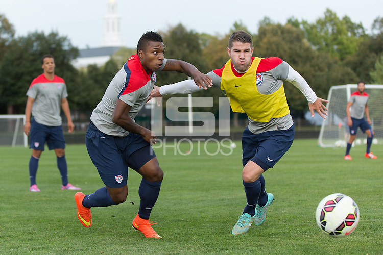Boston, Mass. - October 7, 2014: The USMNT train at Harvard's Ohiri Field in preparation for their upcoming match vs Ecuador.
