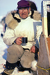 Inupiat Man Drinking Coffee At Whale Harvest