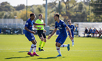 Armando Broja of Chelsea U19 celebrates scoring a goal  during the UEFA Youth League match between Chelsea U19 and Valencia Juvenil A at the Chelsea Training Ground, Cobham, England on 17 September 2019. Photo by Andy Rowland.