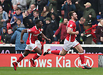 Gary Gardner of Barnsley (r) celebrates the first goal during the championship match at the Oakwell Stadium, Barnsley. Picture date 7th April 2018. Picture credit should read: Simon Bellis/Sportimage