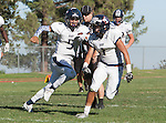 Palos Verdes, CA 09/24/16 - Ethan Gretzinger (Rolling Hills #5) and Issac Perez (Rolling Hills #1) in action during the non-conference CIF 8-Man Football  game between Rolling Hills Prep and Chadwick at Chadwick.