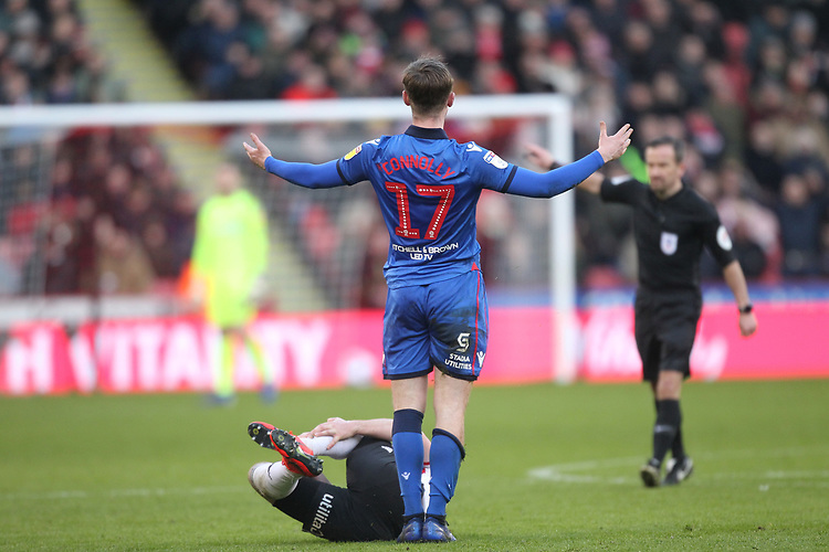 Bolton Wanderers Callum Connolly is yellow carded by ref Keith Stroud<br /> <br /> Photographer Mick Walker/CameraSport<br /> <br /> The EFL Sky Bet Championship - Sheffield United v Bolton Wanderers - Saturday 2nd February 2019 - Bramall Lane - Sheffield<br /> <br /> World Copyright © 2019 CameraSport. All rights reserved. 43 Linden Ave. Countesthorpe. Leicester. England. LE8 5PG - Tel: +44 (0) 116 277 4147 - admin@camerasport.com - www.camerasport.com