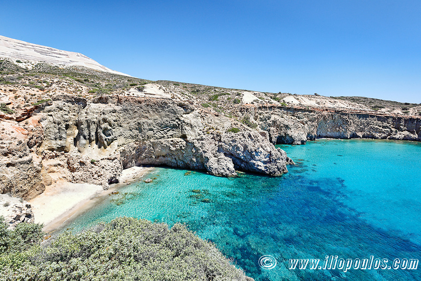 The beautiful beach Tsigrado in Milos, Greece