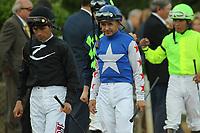 HOT SPRINGS, AR - APRIL 15: Jockeys Luis Quinonez and Mike Smith before the Arkansas Derby at Oaklawn Park on April 15, 2017 in Hot Springs, Arkansas. (Photo by Justin Manning/Eclipse Sportswire/Getty Images)