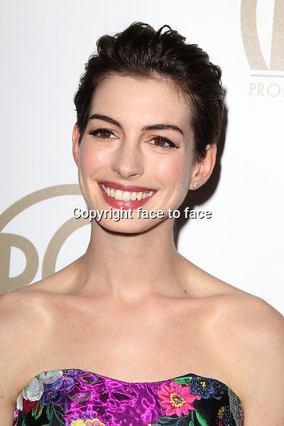 BEVERLY HILLS, CA - JANUARY 26: Anne Hathaway at the 24th Annual Producers Guild of America Awards at The Beverly Hilton Hotel in Beverly Hills, California...Credit: MediaPunch/face to face..- Germany, Austria, Switzerland, Eastern Europe, Australia, UK, USA, Taiwan, Singapore, China, Malaysia and Thailand rights only -