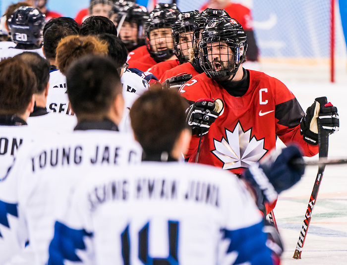 PyeongChang 15/3/2018 - Pastgame handshakes as Canada takes on Korea in semifinal hockey action at the Gangneung Hockey Centre during the 2018 Winter Paralympic Games in Pyeongchang, Korea. Photo: Dave Holland/Canadian Paralympic Committee
