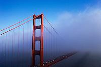 Golden Gate Bridge in fog, San Francisco, California, USA