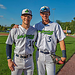 29 August 2019: Vermont Lake Monsters infield teammates Marty Bechina (10) and Logan Davidson (3) pose for a photo prior to facing the Connecticut Tigers at Centennial Field in Burlington, Vermont. The Lake Monsters fell to the Tigers 6-2 in the first game of their NY Penn League double-header.  Mandatory Credit: Ed Wolfstein Photo *** RAW (NEF) Image File Available ***