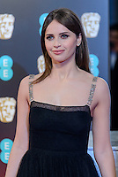 www.acepixs.com<br /> <br /> February 12 2017, London<br /> <br /> Felicity Jones arriving at the 70th EE British Academy Film Awards (BAFTA) at the Royal Albert Hall on February 12, 2017 in London, England<br /> <br /> By Line: Famous/ACE Pictures<br /> <br /> <br /> ACE Pictures Inc<br /> Tel: 6467670430<br /> Email: info@acepixs.com<br /> www.acepixs.com