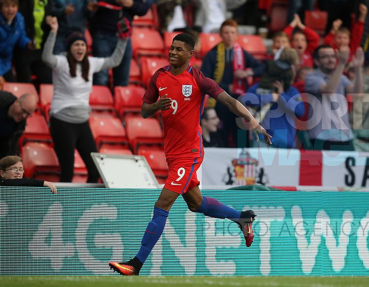 Marcus Rashford of England celebrates scoring the first goal during the International Friendly match at the Stadium of Light, Sunderland. Photo credit should read: Simon Bellis/Sportimage
