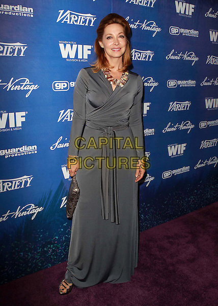 Sharon Lawrence .Variety And Women In Film pre-Emmy event presented by Saint Vintage held at The Montage Beverly Hills, Beverly Hills, California, USA. .21st September 2012.full length grey gray necklace brown dress wrap.CAP/ADM/KB.©Kevan Brooks/AdMedia/Capital Pictures.