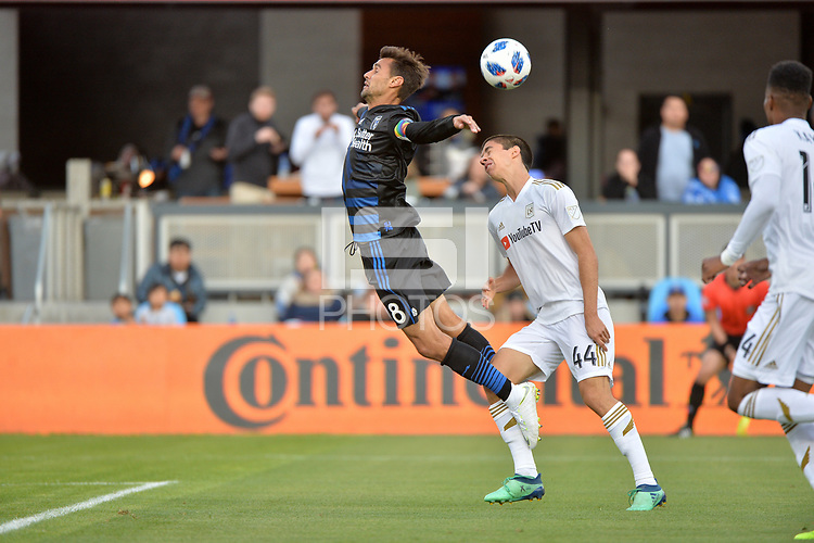 San Jose, CA - Saturday June 09, 2018: Chris Wondolowski, Joao Moutinho during a Major League Soccer (MLS) match between the San Jose Earthquakes and Los Angeles Football Club at Avaya Stadium.