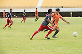 players compete for the ball during an all Peru vs Kuikuro ethnic group football match at the first ever International Indigenous Games, in the city of Palmas, Tocantins State, Brazil. Photo © Sue Cunningham, pictures@scphotographic.com 24th October 2015