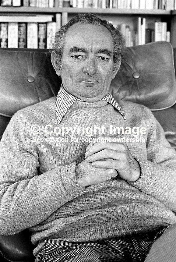 Brian Friel, born 9th January 1929, Omagh, Co Tyrone, N Ireland,  dramatist, playwright, author, director, Field Day Theatre Company. Lives in Co Donegal, Rep of Ireland. 197803000095c.<br /> <br /> Copyright Image from Victor Patterson,<br /> 54 Dorchester Park, <br /> Belfast, UK, BT9 6RJ<br /> <br /> t1: +44 28 9066 1296 (from Rep of Ireland 048 9066 1296)<br /> t2: +44 28 9002 2446 (from Rep of Ireland 048 9002 2446)<br /> <br /> m: +44 7802 353836<br /> <br /> e: victorpatterson@me.com<br /> www.victorpatterson.com<br /> <br /> Please see my Terms and Conditions of Use at www.victorpatterson.com. It is IMPORTANT that you familiarise yourself with them.<br /> <br /> Images used on the Internet must be visibly watermarked i.e. &copy; Victor Patterson<br /> within the body of the image and copyright metadata must not be deleted. Images <br /> used on the Internet have a size restriction of 4kbs and will be chargeable at current<br />  NUJ rates unless agreed otherwise.<br /> <br /> This image is only available for the use of the download recipient i.e. television station, newspaper, magazine, book publisher, etc, and must not be passed on to any third <br /> party. It is also downloaded on condition that each and every usage is notified within 7 days to victorpatterson@me.com<br /> <br /> The right of Victor Patterson to be identified as the author is asserted in accordance with The Copyright Designs And Patents Act (1988). All moral rights are asserted.