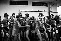 Students of Sukma Football Academy take shower after their practice. Sukma, Chattisgarh, India. Arindam Mukherjee