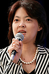 Etsuko Nagayama, Editorial Writer of The Mainichi Newspapers speaks during the first day of the New Economy Summit (NEST 2017) on April 6, 2017, Tokyo, Japan. The annual summit brings together global entrepreneurs and innovators for a two-day event in Tokyo. (Photo by Rodrigo Reyes Marin/AFLO)