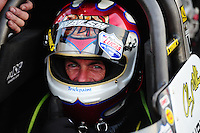 Sept. 2, 2011; Claremont, IN, USA: NHRA top fuel dragster driver Clay Millican during qualifying for the US Nationals at Lucas Oil Raceway. Mandatory Credit: Mark J. Rebilas-