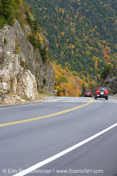 """Route 302 in the area known as """"The Gate"""" in the White Mountains, New Hampshire during the autumn months. At this point, Route 302 enters into Crawford Notch State Park."""