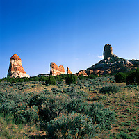 Landscape near Kaibito, Arizona, USA - Unusual Sandstone Rock Formations called 'Setting Red Rocks' - Navajo Indian Reservation along along Highway 98 / Indian Route 22