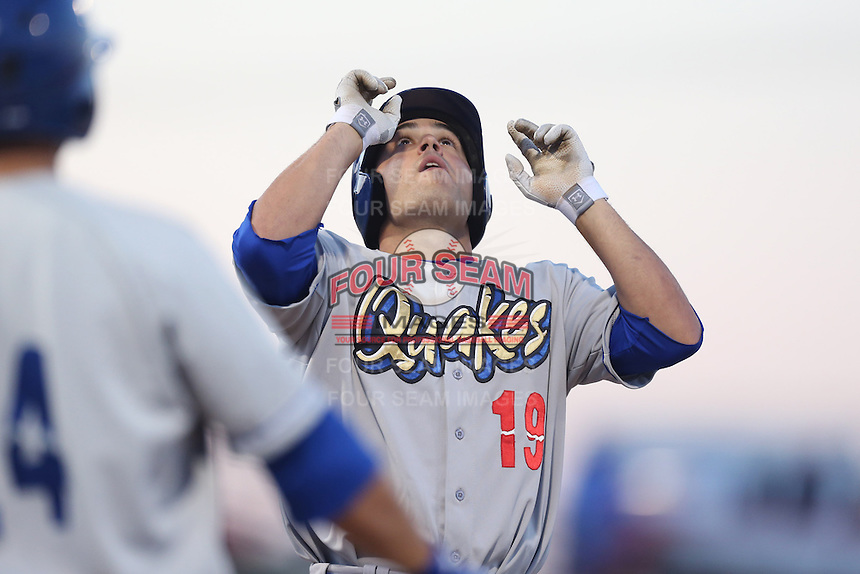 Steven Proscia #19 of the Rancho Cucamonga Quakes looks skyward after hitting a home run during a game against the High Desert Mavericks at Stater Bros. Stadium on April 24, 2014 in Adelanto, California. Rancho Cucamonga defeated High Desert, 7-5. (Larry Goren/Four Seam Images)