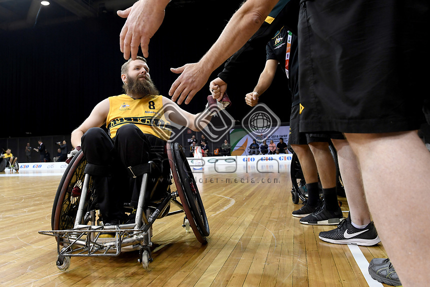 Ben Fawcett (AUS) vs Japan<br /> Australian Wheelchair Rugby Team<br /> 2018 IWRF WheelChair Rugby <br /> World Championship / Day 4<br /> Sydney  NSW Australia<br /> Wednesday 8th August 2018<br /> &copy; Sport the library / Jeff Crow / APC