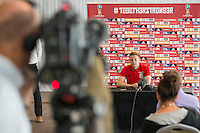 Chris Gunter addresses the press during the Wales player media session ahead of the opening World Cup 2018 qualification match against Moldova at Hensol Castle, Vale of Glamorgan, Wales on 1 September 2016. Photo by Mark  Hawkins.