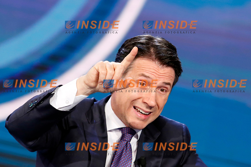 Giuseppe Conte <br /> Rome January 8th 2019. The Italian Prime Minister appears as a guest on the tv show Porta a Porta<br /> Foto Samantha Zucchi Insidefoto