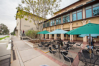 Photo of the Rose Hills Foundation Plaza outside the Student Activities Center of the Johnson Student Center, March 20, 2018.<br /> (Photo by Marc Campos, Occidental College Photographer)