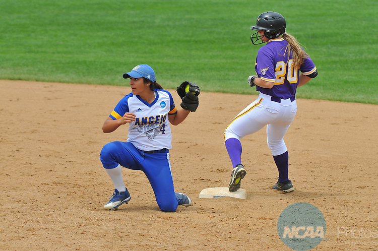 SALEM, VA - MAY 29: Jessica Meidl (10) of Minnesota State University runs safely to second base past Bailey Wallace (4) of Angelo State University during the Division II Women's Softball Championship held at Moyer Park on May 29, 2017 in Salem, Virginia. Minnesota State defeated Angelo State 5-1 to win the national championship. (Photo by Andres Alonso/NCAA Photos via Getty Images)