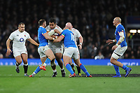 Billy Vunipola of England finds his way blocked during the Guinness Six Nations match between England and Italy at Twickenham Stadium on Saturday 9th March 2019 (Photo by Rob Munro/Stewart Communications)