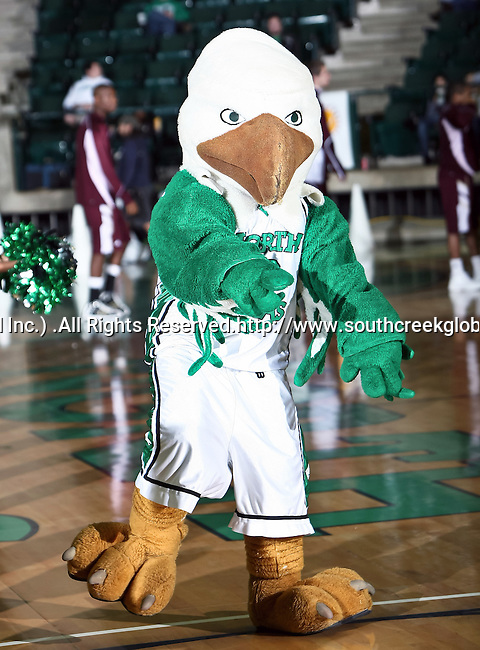 North Texas Mean Green Mascot, Scrappy, gets the crowd worked up in the game between the Texas State Bobcats and the University of North Texas Mean Green at the North Texas Coliseum,the Super Pit, in Denton, Texas. UNT defeated Texas State 85 to 62