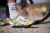 Esteban Chaves' (COL/Mitchelton-Scott) colourful Sidi shoes during the Mitchelton-Scott training camp in Almeria, Spain<br /> <br /> february 2019<br /> <br /> ©kramon