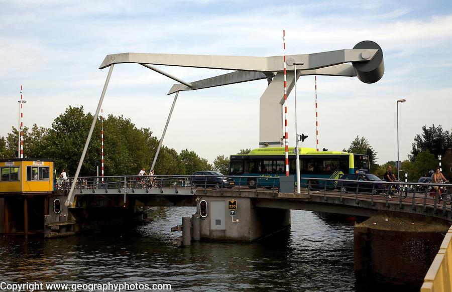 Modern canal bridge Haarlem Holland