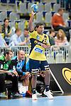 GER - Mannheim, Germany, September 23: During the DKB Handball Bundesliga match between Rhein-Neckar Loewen (yellow) and TVB 1898 Stuttgart (white) on September 23, 2015 at SAP Arena in Mannheim, Germany.  Mads Mensah Larsen #22 of Rhein-Neckar Loewen<br /> <br /> Foto &copy; PIX-Sportfotos *** Foto ist honorarpflichtig! *** Auf Anfrage in hoeherer Qualitaet/Aufloesung. Belegexemplar erbeten. Veroeffentlichung ausschliesslich fuer journalistisch-publizistische Zwecke. For editorial use only.