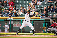 Kyle Kubitza (10) of the Salt Lake Bees during the game against the Sacramento River Cats in Pacific Coast League action at Smith's Ballpark on April 17, 2015 in Salt Lake City, Utah.  (Stephen Smith/Four Seam Images)