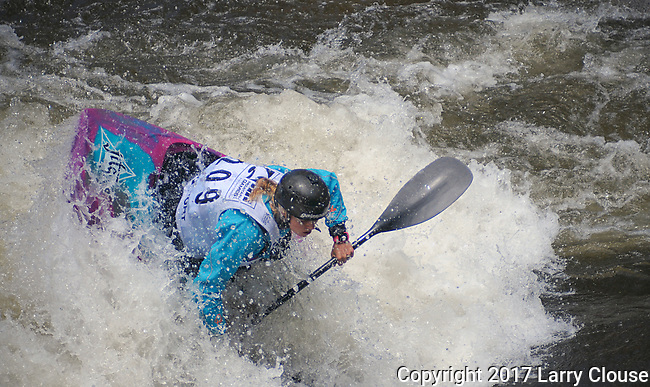 June 9, 2017 - Vail, Colorado, U.S. - New Zealand's, Martina Wegman, sets up for a maneuver and a place in the final round in the Freestyle Kayak competition during the GoPro Mountain Games, Vail, Colorado.  Adventure athletes from around the world meet in Vail, Colorado, June 8-11, for America's largest celebration of mountain sports, music, and lifestyle.