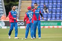 Dawlat Zadran (Afghanistan) celebrates the wicket of Lasith Malinga (Sri Lanka) with Hashmatullah Shahidi  (Afghanistan) during Afghanistan vs Sri Lanka, ICC World Cup Cricket at Sophia Gardens Cardiff on 4th June 2019
