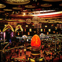 The gaming floor in the Grand Lisboa's 24 hour casino featuring 240 gaming tables.
